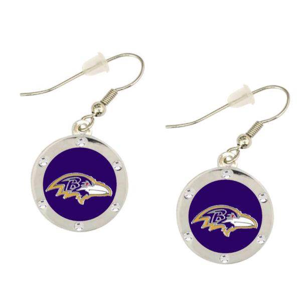 baltimore-ravens-circle-earrings