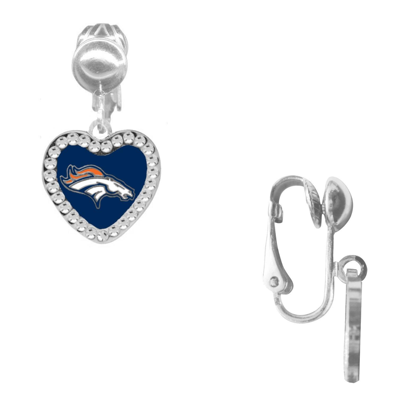 Denver Broncos Crystal Heart Clip