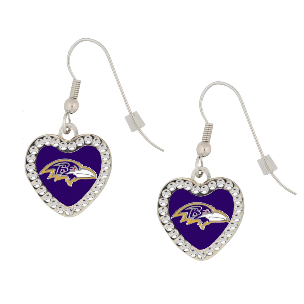 Baltimore Ravens Crystal Heart Hearrings