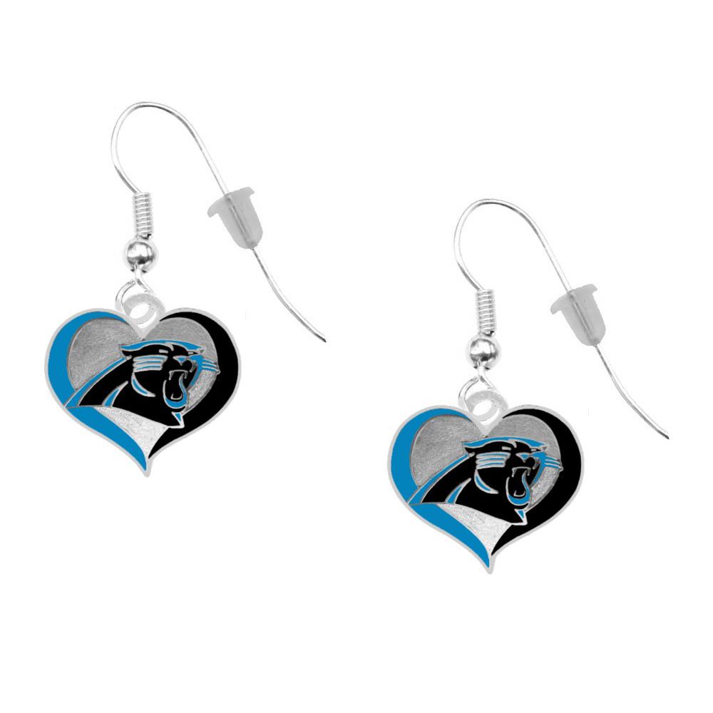 Carolina Panthers Crystal Heart Earrings